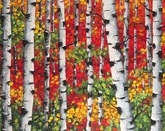Aspen tree painting, Birch Trees Painting, Canvas Wall Art, Colorful art, Abstract landscape, Bohemian decor, home decor