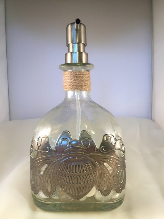 Limited Edition Repurposed Tequila Bottle Soap Dispenser with Pewter Bee Design and White & Pale Pink Glass Beads