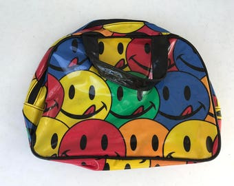 90s rainbow smiley joe boxer makeup bag container