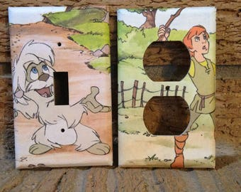 The Black Cauldron Light Switch and Electrical Outlet Cover, Taran and Gurgi