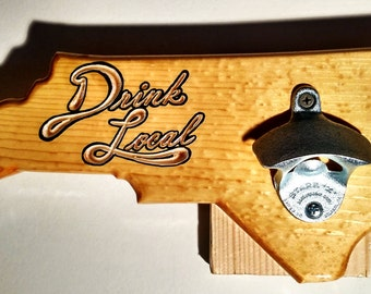 North Carolina Custom Wooden Wall-Mounted Bottle Opener