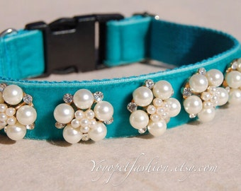 Modern  dog collar!Perfect gift for dog,panne velvet with pearl flowers dog collar. Wedding dog collar.dog wedding collar.