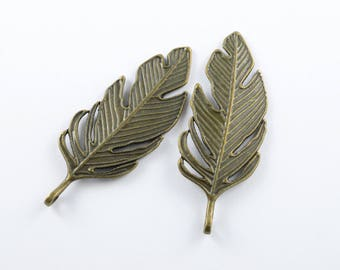 Bronze Feather Charms, 62 mm - 4 pieces (Q143B)