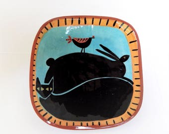 Vintage Ceramic Plate, Cat, Rabbit, Bird