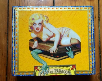 Creature Feature Pin Up Girl Attack Wooden Keepsake Cigar Box Pandora's Box
