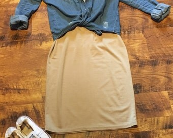 Tan fitted knit dress