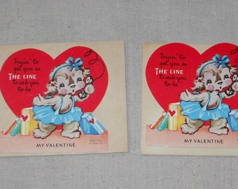 Pair of Vintage Stand up Valentine's Day Cards by Ameri-Card Made in USA unused with original envelope