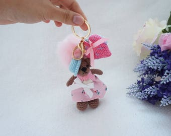 Mini bear bagcharm crochet