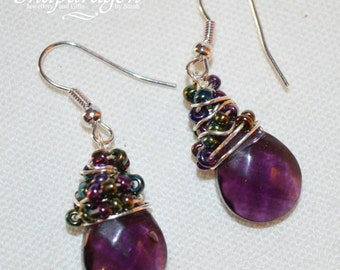 Faceted deep purple briolette wire wrapped earrings