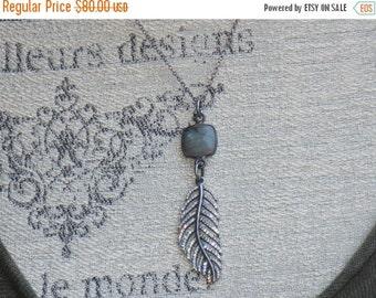 ON SALE Boho Chic Pandora Cz Feather Charm with Labradorite Gemstone and Oxidized Sterling Charm Necklace