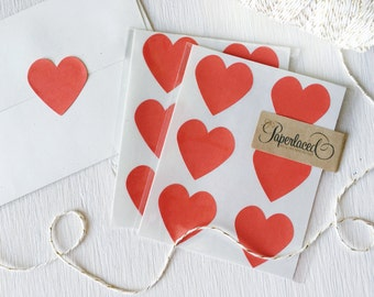 12 Large Red Heart Stickers, Envelope Seals, Valentine's Day, Gift Wrap, Gift Packaging, Red Hearts, Christmas Card Stickers, Galentines Day