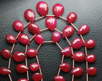 6 Pcs,Superb-Finest Quality,Dyed Ruby Faceted Pear Shape Briolettes,7-8mm size