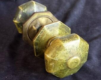 4 availble RARE Antique SOLID Cast Brass Door Knob Doorknob Handle Plate Rosette