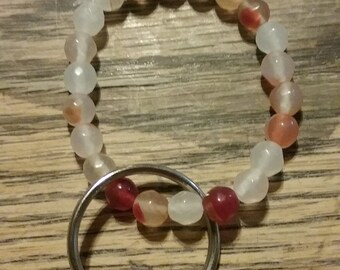 White And Red Beaded Key Chain 22