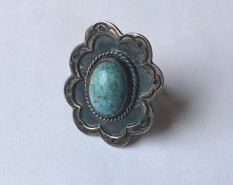 vintage faux turquoise art glass sterling ring, size 5.25