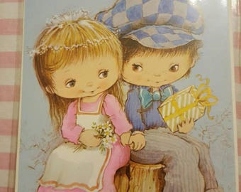 1970s Vintage Congratulations On your Wedding Card married couple