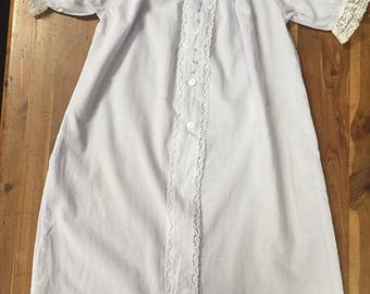 BABY DAYGOWN in pale lavendar  Swiss batiste, size newborn to 6 months, white lace , hand embroidery
