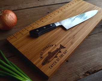 Personalized Father's Day Fish Measuring / Cutting Board Dad Gift