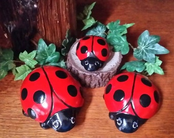 Lady Bug Trio - Garden Statue/Figurines of Cement/Concrete  for indoor or outdoor display