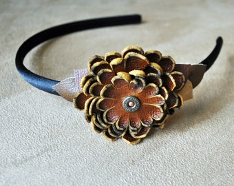 Leather Flower & Bird Feather Headband = FREE shipping in US