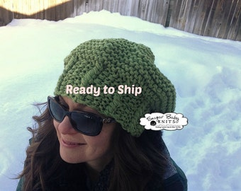 Twisted Band Slouchy Beanie, Oversized, Slouch,  Slouchy Hat, Hand Knit, Oversized, Baggy, Chunky Beanie, Cabled, Hand Knit, Olive Green