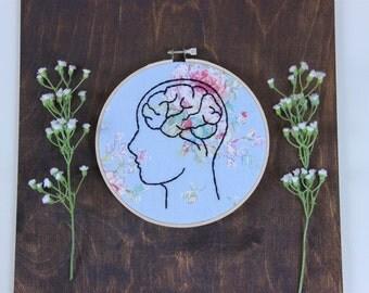 Blue Floral Head Space Embroidery Hoop, Brain Embroidery Hoop