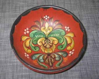 Wooden Bowl / Antique Vintage Wooden Bowl /Rosemaling Hand Painted Folk Art Norway Norwegian Scandinavian