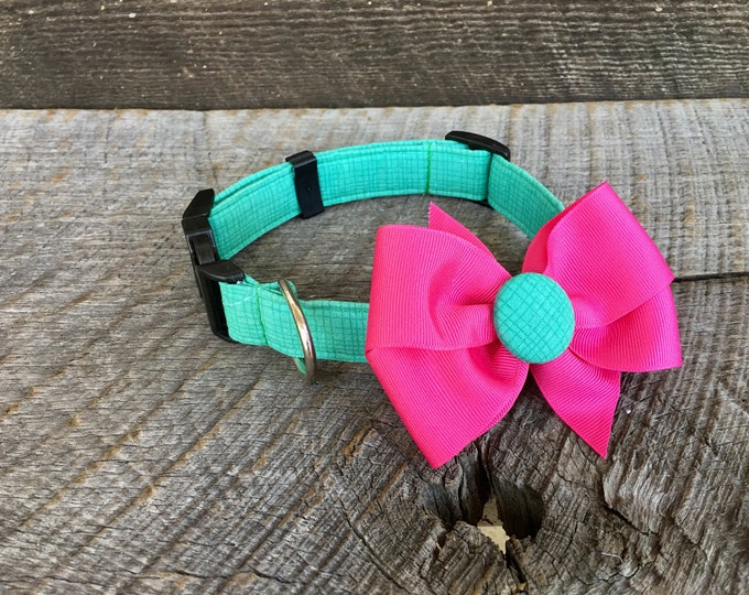 Grid Green Dog Collar with Bow
