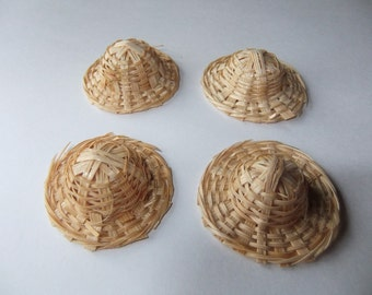 4 Miniature Straw Hats