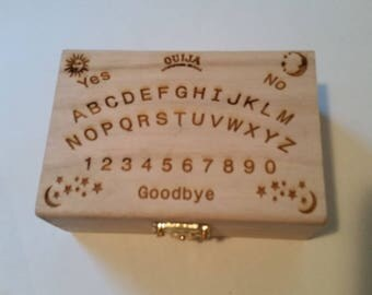 Engraved ouija board wooden box with oracle