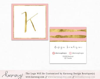 Square Business Card|Instant Business Cards|Watercolor Business Cards|Custom Business Cards|Printable Business Cards|Gold|Printable Cards