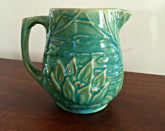 Vintage McCoy 124 Water Lily Stoneware Pitcher in Sage Green Glaze