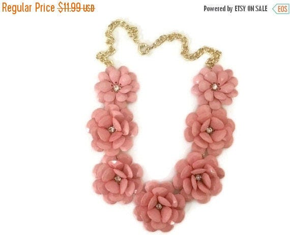 Blossom Necklace, Pink Blossom Necklace Jewelry, Bridesmaid Gift Bib Necklace, Pink Bib Statement Necklace, Pink Bridal Necklace, Pink