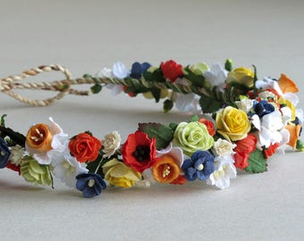 Rainbow Flower Crown - Made of paper flowers: daffodils, poppies, roses, forget-me-nots, cherry blossoms, and gypsophilas
