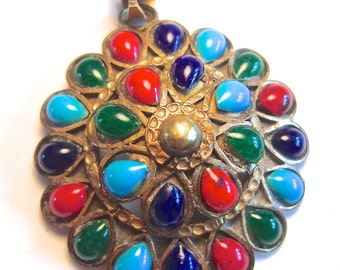 Multi Color Art Glass Brass Pendant, Cabochons, Domed, Vintage