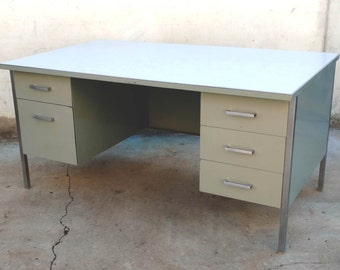 Steelcase 1976 Executive Desk / Tanker Desk Aluminum + Stainless Steel Sage Green White Vintage Mad Men Mid Century 1970s