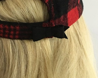 Pliad Baseball Cap with Bow Back -Red&Black