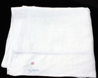 """Antique Homespun Hand Loomed Linen Sheet  81.75"""" x 96"""""""