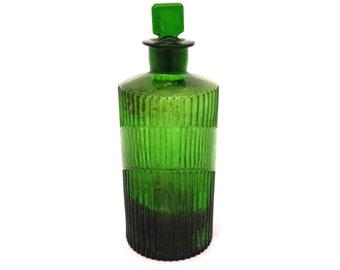 Lidded Poison Bottle, Vintage Emerald Glass Poison Bottle, Antique Pharmacy Bottle, Apothecary Jar, Medicine Bottle, Glass Chemist Bottle