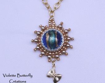 Raffaela Embroidered Pendant, Murano Glass, Swarovski Crystal and Glass Beads - high jewelry - luxury