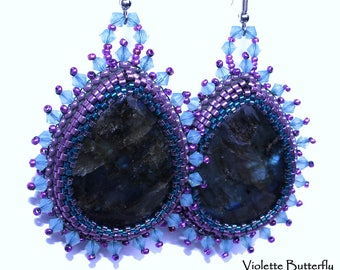 Earrings Asiya - embellished with labradorite and crystal Swarovski - elegant and original - couture jewelry - luxury