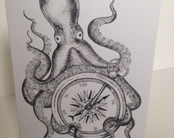 Lost at sea Octopus and compass tattoo style blank greeting card, birthday card.