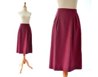 Dark Red Skirt, Red Pencil Skirt, Vintage Skirt, Wook Skirt, Pendelton Skirt, Burgundy Skirt, Wine Skirt, Maroon Skirt