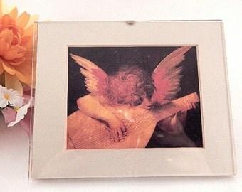 "Wall Hanging Picture Rosso Fiorentino Musician Angel Cherub Playing Lute  Renaissance Art Print  5"" x 4"" Minimalist Acrylic Frame Home Decor"