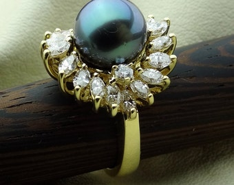 Vintage 11 mm Black Tahitian Pearl Marquise Diamonds Hand Made Solid 18k Yellow Gold Ring Available Now