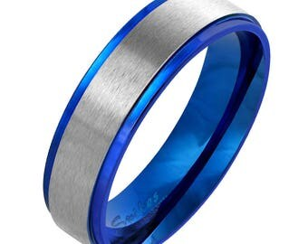 Free engraving-Personalized Stainless Steel With Blue IP Two Tone Ring