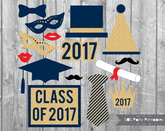 Graduation Photobooth Props, 2017 Grad Party Printables, Class of 2017 photo booth props, Printable Props, navy blue and gold glitter