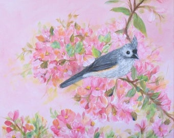 SALE! Lovely Chickadee Song Bird Floral Painting ~ Shipping Included