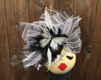 black and white butterfly hat