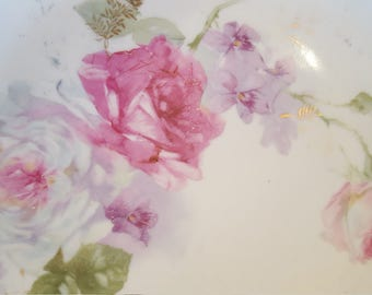"""German Germany 9.5"""" Plate Rose Roses 3 Crowns Germany Decorative China Porcelain Plate"""